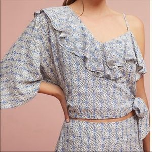 Maeve by Anthropologie NWT one shoulder crop top M
